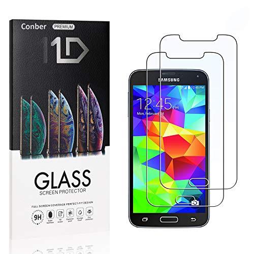 [2 Stück] Conber Panzerglas Schutzfolie für Samsung Galaxy S5, [9H Härte][Anti-Kratzen][Anti-Öl][Anti-Bläschen] Panzerglasfolie Displayschutz für Samsung Galaxy S5