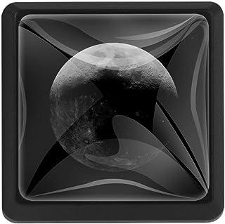 Moon Space Stars - Manilla cuadrada de cristal para puerta (37 x 25 x 17 mm)