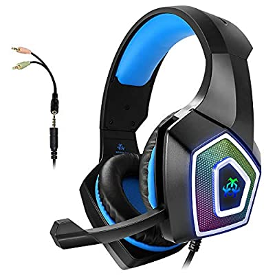 Gaming Headset with Mic for Xbox One PS4 PC Switch Tablet Computer Smartphone, Headphones Stereo Over Ear Bass 3.5mm Microphone Noise Canceling 7 LED Light Soft Memory Earmuffs (Free Adapter) from WINTORY