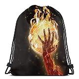 N / A Unisex Drawstring Backpack,Sport Tanz Tasche,Tasche Gymsack Tasche,Hipster Rucksack Pe,Tunnelzug Gymsack,Trainer-Tasche,Gym Sack,Flaming Basketball Hand Trainer-Tasche