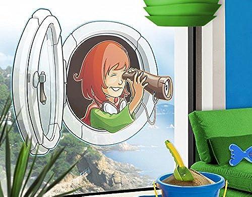 Sticker de fenêtre en volant Farm Hatchway-Girl, film de fenêtre, autocollant de fenêtre, tatouage de fenêtre, sticker vitres, image de fenêtre, déco de fenêtre, décoration de fenêtre, DiPour des hommesion  80cm x 109cm
