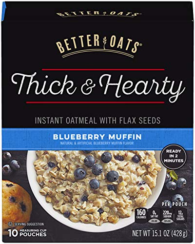 Post Better Oats Thick & Hearty Whole Grain Instant Oatmeal with Flax Seeds, Blueberry Muffin flavor, 15.1 Ounce Box, Pack of 6