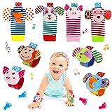 FancyWhoop Baby Rasseln Socken Spielzeug 8er Handgelenk Rassel und Fuß Finder Socken Set Developmental Toys Kit für Neugeborene, Mädchen und Jungen 0 1 2 3 4 5 6 Monate (8 Stück) (Rosa)