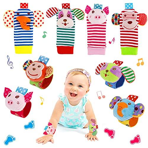 FancyWhoop Sonajeros de Muñeca Bebe Sonajero de Pies y Manos Juguetes de Desarrollo Animal Lindo Calcetines Sonajero para 0-12 Meses Recién Nacido Niño Niñas (Rosado)