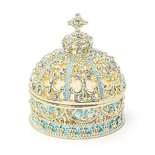 LTCTL Caja De Joyería Pequeña Corona De Estilo Europeo Caja De Anillo De Boda Hecho A Mano Pendientes Collar Organizador De Joyería (Color : Jewelry Box C)
