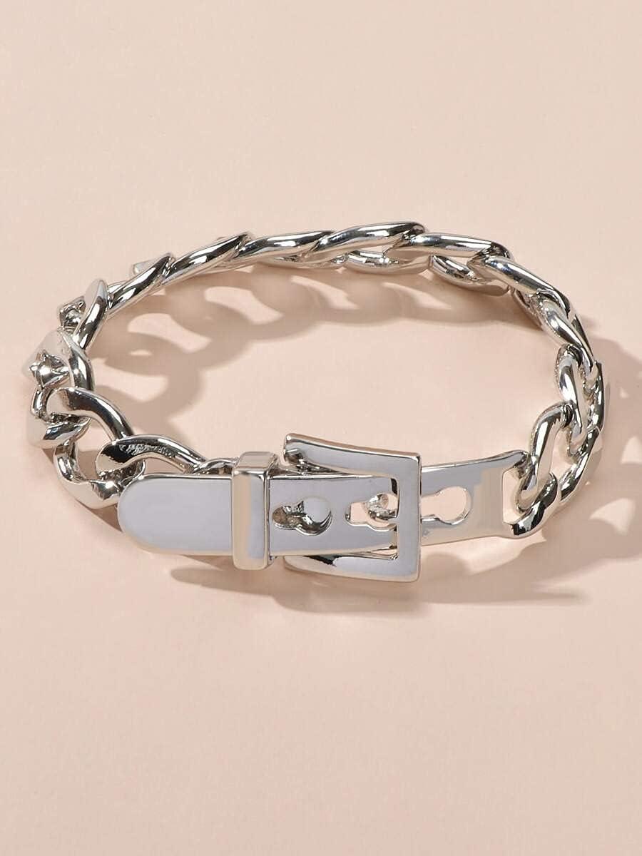 Sensecrol Charm Bracelets Max 40% OFF Buckle Design Cheap mail order shopping Color : Silver Bracelet