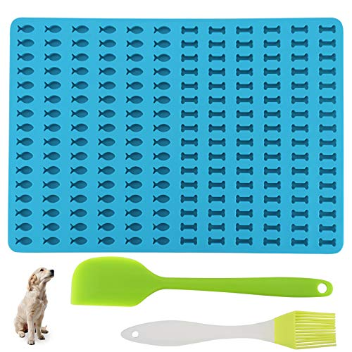 IWILCS Backform für Hundeleckerli, Backmatte Hundekekse Knochen Silikon Backmatte Fisch Silikonform Antihaftend Knochen& Fisch Formen,1.5cm Backform für Hundekekse und Leckerlis