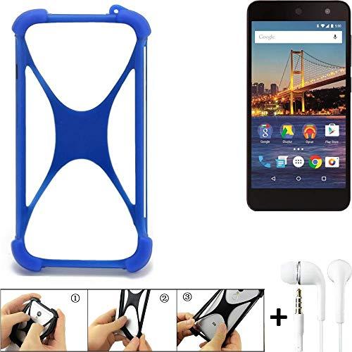 K-S-Trade® Handyhülle Für General Mobile 4G Bumper Schutzhülle Silikon Schutz Hülle Cover Case Silikoncase Silikonbumper TPU Softcase Smartphone, Blau (1x), Headphones