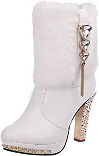 Winter Ankle Boots for Women Shoes, Diamante Studded Chukka Martin High Chunky Heel Desert Tactical Insoles Suede Lace Up Mid Cap Size 3-10 (Color : White, Size : 5 UK)