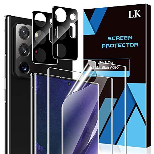 LK Compatible con Samsung Galaxy Note 20 Ultra Protector de Pantalla,2 Pack Protector Pantalla y 2 Pack Protector de Lente de cámara, Película Protectora de TPU,Doble protección