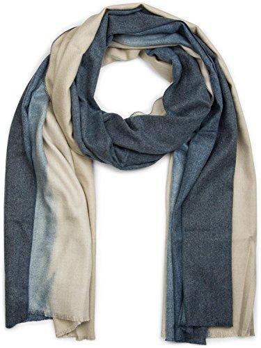 styleBREAKER weicher Schal in Farbverlauf Optik, Fransen, Tuch, Damen 01018145, Farbe:Beige-Dunkelblau