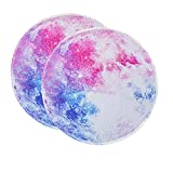 2 Pieces Moon Round Mouse Pad,Small Mousepads for Wireless Mouse,Non-Slip Rubber Base Mousepad with Stitched Edge,Mousepad for Home,Computer,Laptop,Office,8.7X 8.7X0.12 inches(220X220X3MM)