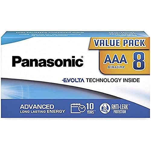 Panasonic EVOLTA TECHNOLOGY INSIDE, AAA Micro LR03, 8er Pack in plastikfreier Verpackung, 1.5V, Premium-Batterie mit langanhaltender Energie, Alkali-Batterie