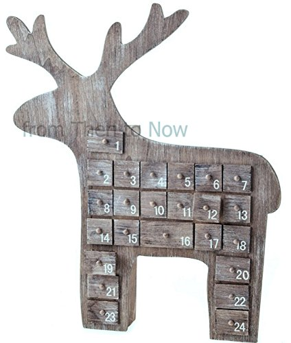 Gisela Graham Natural Wooden Reindeer advent Calendar 40cm