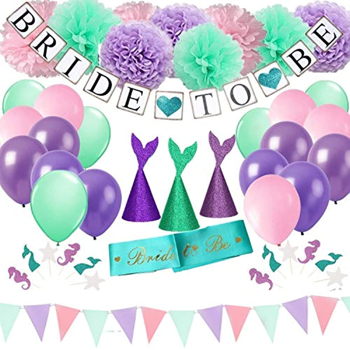 DOYOLLA Teal Bridal Shower Decorations Kit - 56pcs Tissue Paper Flowers, Bride to Be Banner & Sash, Mermaid Balloons, Party Hats, Cupcake Toppers for Under The Sea Underwater Wedding Party Decor