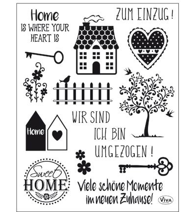 Viva Decor®️ Clear-Stamps (Sweet Home) Silikon Stempel - Prägung Stempel - DIY Dekoration stanzen - Stempel Silikon - DIY Stamp - Stempel Prägung - Made in Germany
