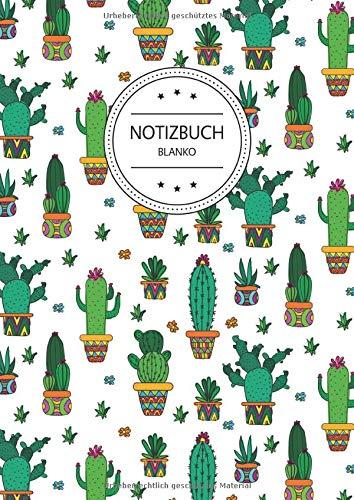 Notizbuch Blanko: Notizbuch A4 Blanko (110 Seiten, Vintage Softcover, Seitenzahlen, Weißes Papier - Dickes Notizheft, Skizzenbuch, Zeichenbuch, ... - Motiv: Kaktus Muster Kakteen Bunt