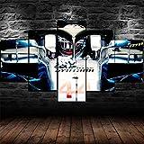 IIIUHU 5 Piezas Cuadro sobre Lienzo De Fotos Lewis Hamilton Campeón F1 Mercdes Lienzo Impresión Cuadros Decoracion Salon Grandes Cuadros para Dormitorios Modernos Mural Pared Listo para Colgar