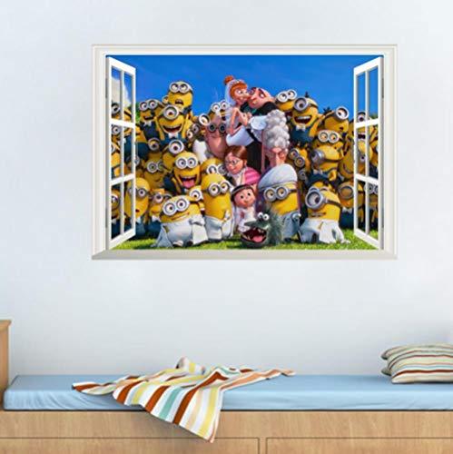 3d Muursticker Fotolijst Cartoon Geel Mannetje Familie 70x50cm Slaapkamer Woonkamer Keuken Woondecoratie Behang