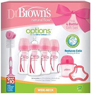 Dr Brown's Natural Flow Anti-Colic Vent Bottle, Beaker and Teether Set. Pink