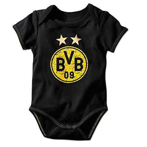 Borussia Dortmund Unisex Baby Bvb-babybody Emblem Babybody, Schwarz, 50 56 EU