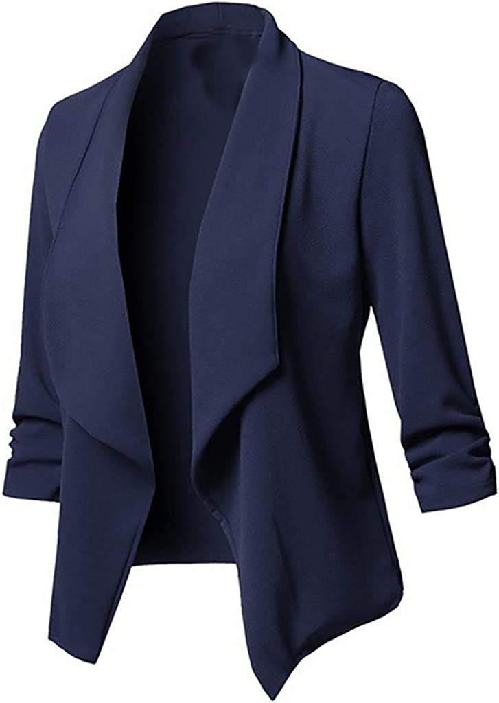 Short Blazer for Women Plus Size Fitted Business Casual Comfy Cardigan Jacket Solid Color Office Long Sleeve Fall Coat