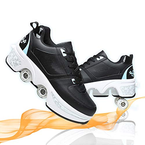 Patines De Cuatro Ruedas De Deformación Multifuncionales Automáticos De Doble Propósito Zapatos De Patinaje Deportes Al Aire Libre para Adultos Niño