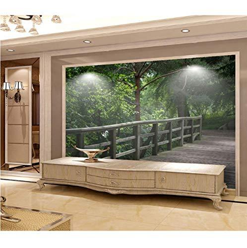 Fotobehang 3D muur diepte bosbrug behang retro kinderkamer modern slaapkamer badkamer raam Home decoratie 250 cm x 175 cm.