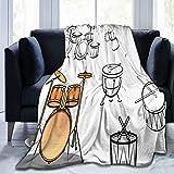 KOSALAER Bedding Manta,Trampa Set Étnico Occidental Oriental Bongo Timbales Folk Artístico Rock Pop Moderno,Mantas cálidas de Sala de Estar/Dormitorio Ultra Suaves para Todas Las Estaciones