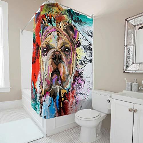 Gamoii Englische Bulldogge Buntes H& Duschvorhang Bad Vorhang Mode Badewanne Vorhang Polyester Shower Curtains mit Duschvorhangringen White 150x180cm