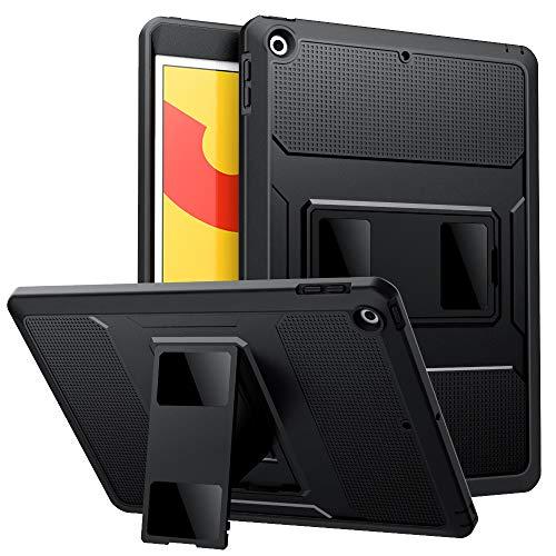MoKo Hülle für Neu iPad 10.2 2019, [Heavy Duty] Ganzkörper-Rugged Hybrid Stand Schutzhülle mit Integriertem Displayschutz für Apple iPad 7. Generation 2019 Tablet - Schwarz