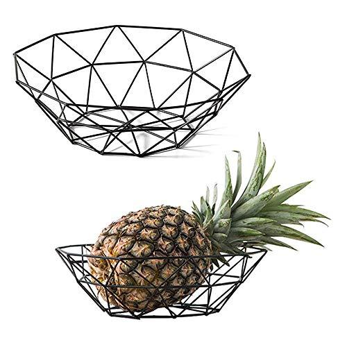 2 Pezziciotole di Frutta Geometriche, Cesto Di Frutta Geometrico Vintage, Fruttiera in Metallo, per Riporre Frutta da Tavolo, Verdura, Pane, Cosmetici, Articoli da Toeletta e Asciugamani (Nero)