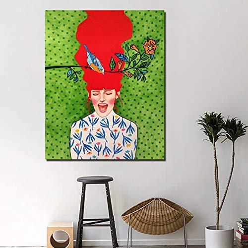 Nordic poster bang meisje pop art abstract print canvas woondecoratie olieverfschilderij moderne poster frameloze schilderij 30x40cm