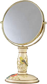 Desktop double-sided vanity mirror Desktop princess mirror Creative magnifying dressing table mirror with eyebrow makeup mirror Mirror surface diameter 19CM Front 1:1 mirror surface reverse 3 times ma