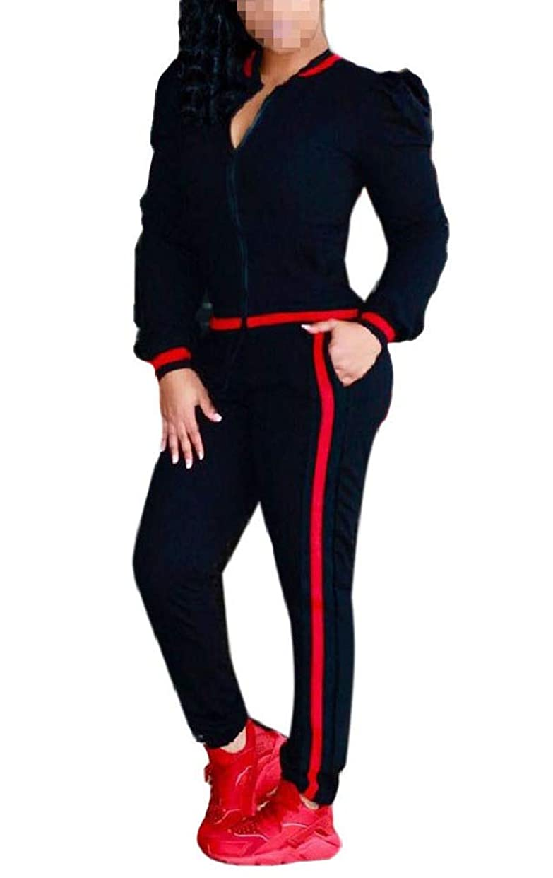 血まみれのスツール優勢Candiyer Women's Long-Sleeve Pants 2-Piece Contrast Color Sweatsuits Set Tracksuits