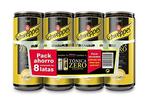 Schweppes Tónica Zero Bebida Refrescante, 8 x 33cl