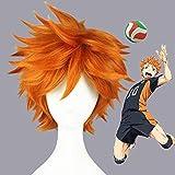Haikyuu Disfraz de Cosplay Hinata Shouyou Peluca Corta Naranja Mullida Capas Anime Peluca La Pequeña Peluca Gigante de Carnaval Estrella de Voleibol