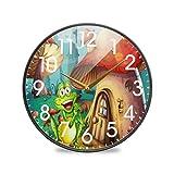 Reloj de Pared de la casa de la Seta de la Rana de la Historieta Funciona con Pilas Cuarzo silencioso Que no Hace tictac para el hogar Sala de Estar Oficina Cocina Dormitorio
