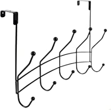 Home Basics Shelby 5 Hook Over The Door Rack for Bathroom, Bedroom or Closet Hanging Coat, Robes, Hats, Bags & Towel, Sturdy Heavy-Duty Clothes Organizer Storage, Black
