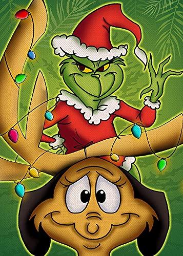 Christmas Diamond Painting Kits for Adults - Christmas Grinch Full Drill Crystal Rhinestone Arts Craft Diamond Dots - 5D DIY Gem Art Paint with Diamonds Home Wall Decor 11.8x15.7in