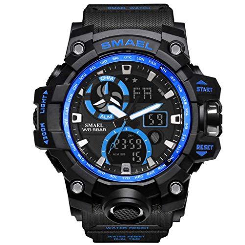 UINGKID Herren Uhr analog Quarz Armbanduhr wasserdicht Uhren Digital-Hintergrundbeleuchtung-Mann-Militär-LED-Armbanduhr-Militäre Sport-Uhr