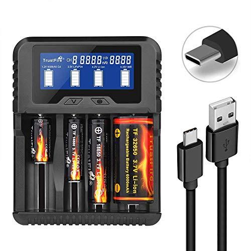 TrustFire TR-020 26650 18650 Akku Ladegerät Universal Akkuladegerät - 4 x Schächte QC3.0 Type-C USB-Anschluss für IMR/INR/ICR/Li-Ion 10440 14500 16340 18350 22500 32650 NI-Mh (NiCd) AA AAA AAAA C.D.