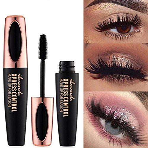 4D Silk Fiber Wimpern Wimperntusche, Wimperntusche Mascara Wasserfest Schwarz Natürliche Lange Wimpern Falsche Wimpern Tusche FüR langlebige Augen Make-up
