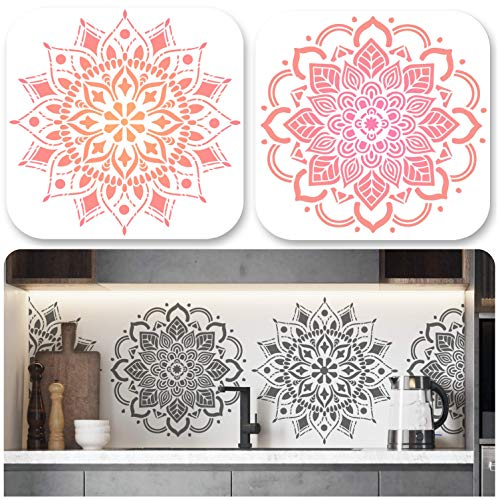 UrbanXElites Mandala Stencils for Painting - 12x12 Inch Large Stencils for DIY Art   Wall Stencil, Tile Stencil, Floor Stencils - Wall Stencils for Painting Large Pattern   2 Mandala Stencil in 1 Set