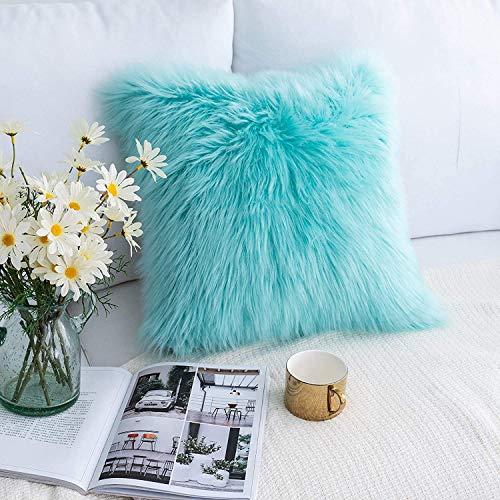 XUDAKJ Funda de Almohada, Funda de cojín de Lana Artificial, Funda de cojín de Cuero súper Suave de Lujo Decoración para el hogar Dormitorio Funda de Almohada Decorativa Sofá (Azul, 1 pcs 45 * 45)