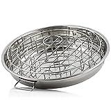 BBQ-Toro Edelstahl 3-In-1 Rippchen und Hähnchenkeulen Halterung mit Auffangschale | Chicken Roaster mit Aroma-Kegel | Rippchenhalter für Sparribs | Hähnchenkeulen Halter mit Tropfschale