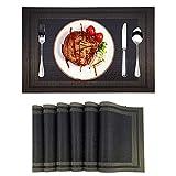 Manteles Individuales,Juego de 6 Salvamanteles Individuales de Vinilo Lavables Antideslizantes Resistentes al Calor Camino de Mesa para Cocina