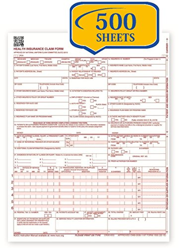New CMS 1500 Claim Forms - HCFA (Version 02/12) (500 Sheets)