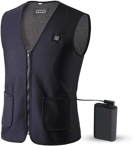 LYY Gilet Chauffant électrique, USB Lavable Recharge chauffée Infrarouge lointain vêteHommests d'hiver Chaud Gilet (Noir)