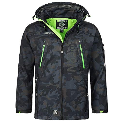 Geographical Norway Techno Softshelljacke Herren Kapuze abnehmbar, Navy/Green, XL